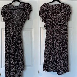 NY Collection Black Pink Red Stretch Wrap Dress